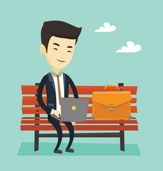business man working on laptop outdoor vector image