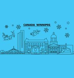 Canada winnipeg winter holidays skyline merry vector