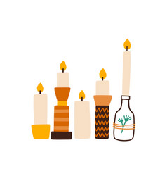 Candles in creative holders flat vector