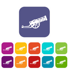 Cannon icons set vector