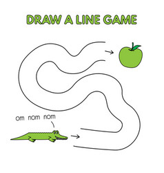 cartoon alligator draw a line game for kids vector image