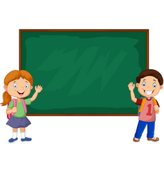 cartoon school kids with chalkboard vector image