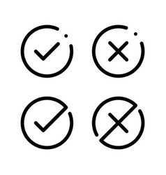 check mark tick right wrong yes no icon flat vector image