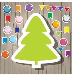 Christmas fir-tree and decoration vector image