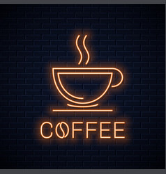coffee cup neon sign neon coffee banner on wall vector image