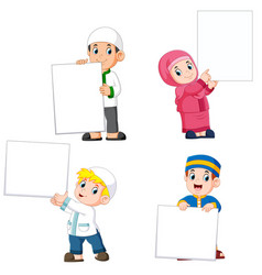 collection of moslem people holding big blank sign vector image