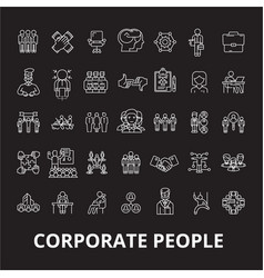 corporate people editable line icons set on vector image