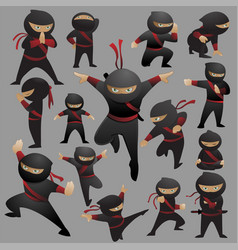 Cute cartoon ninja fighting collection vector