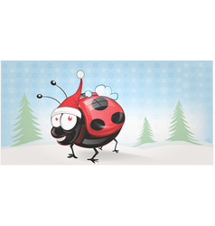 Cute lady bug chistmas banner background vector