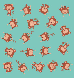 cute monkeys pattern background vector image