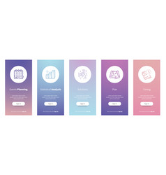 Events planning cards with strong metaphors vector