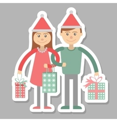 Family couple with Christmas shopping vector