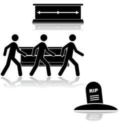 Funeral and burial vector