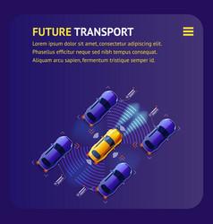 Future transport banner intelligent cars traffic vector