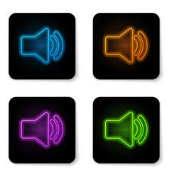 glowing neon speaker volume icon - audio voice vector image