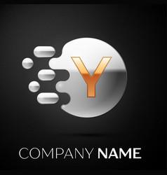 gold letter y logo silver dots splash vector image