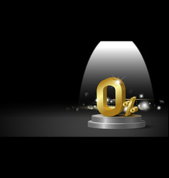gold metal zero percent or 0 on black background vector image