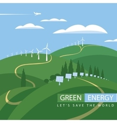 green energy wind turbines and solar panels vector image