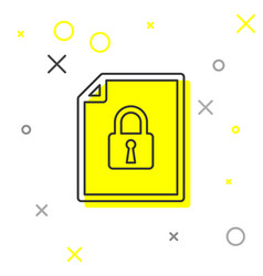 Grey document and lock line icon isolated on vector