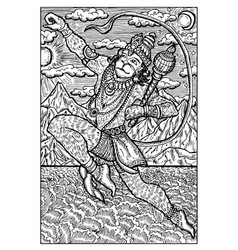 hanuman hindu monkey god engraved fantasy vector image