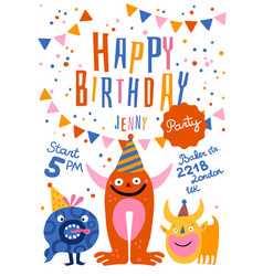 happy birthday party poster vector image