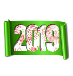 happy new year card white number 2019 red vector image
