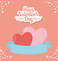 Happy valentines day love romantic hearts ribbon vector