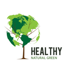 healthy natural green earth tree white background vector image