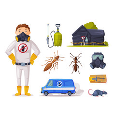 home pest service exterminator wearing protection vector image