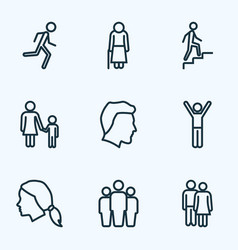 human icons line style set with child head vector image