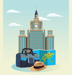 Iconic building with travel bag and hat vector