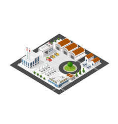 isometric industrial landscape of the plant top vector image