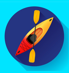 kayak and paddle icon outdoor activities vector image