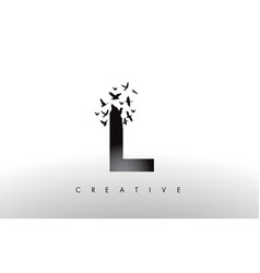 L logo letter with flock of birds flying and vector