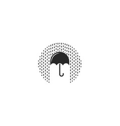 logo umbrella with rain drops saving waterproof vector image