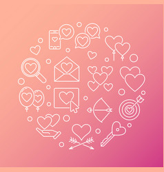 Love and feelings round outline vector