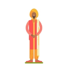 Man In National Red And Orange Clothes With Turban vector