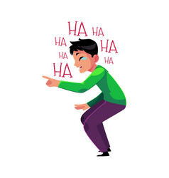man laughing out loud crying from laughter vector image
