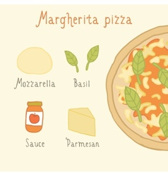 Margherita pizza ingredients vector image