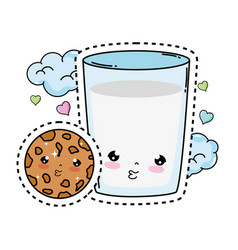 Milk glass with cookie kawaii character vector