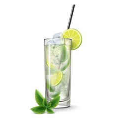 Mojito cocktail with fresh sliced lime vector