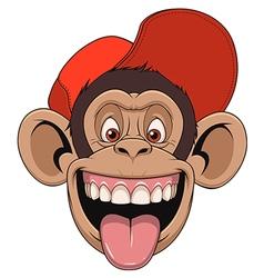 Monkey head in a cap vector