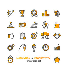 motivation and productivity signs color thin line vector image