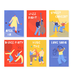 music party performing people colorful cards set vector image