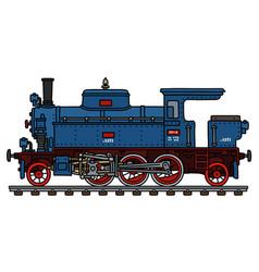 Old blue tank engine steam locomotive vector