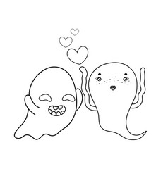 Outline funny ghost couple character with hearts vector