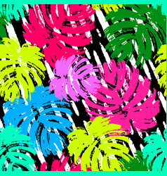 Palm leaves summer funky seamless pattern vector
