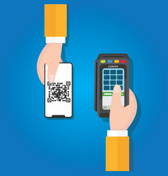 Pay qr code in mobile phone payment method vector