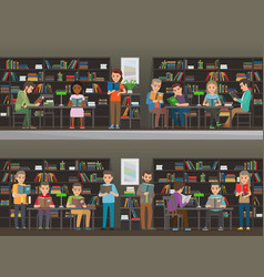people read in library set vector image