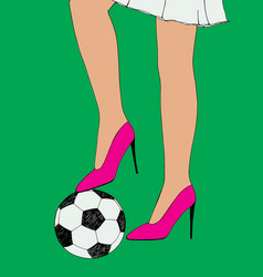 Pretty young slim girl holds soccer ball under vector